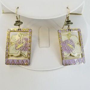 LAUREL BURCH Purple Hibiscus Gold Tone Earrings